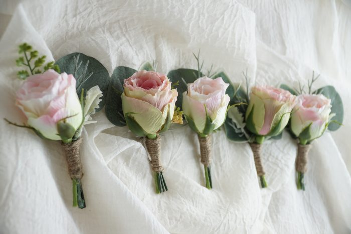 Mixed Pink Rose Bud Buttonholes 1