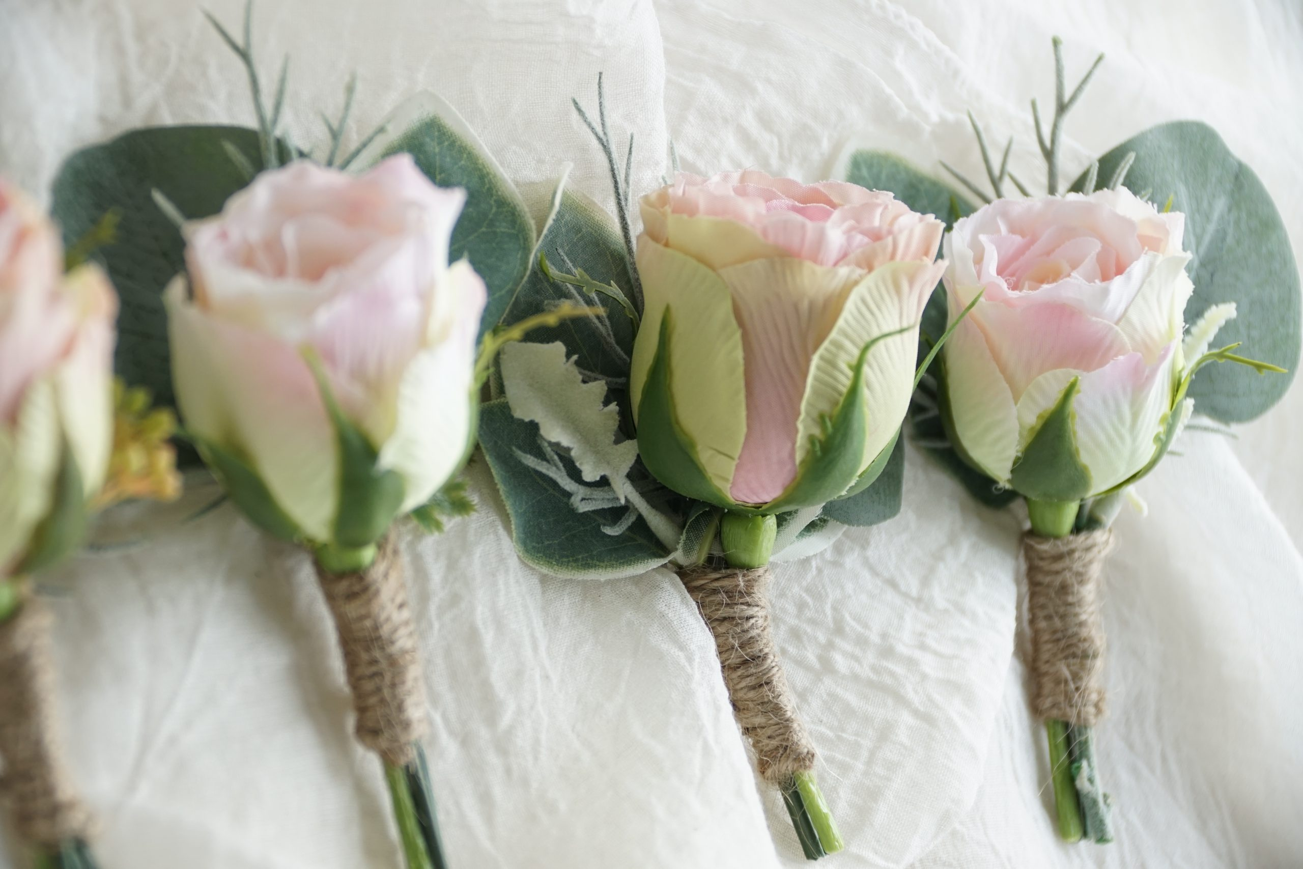 Mixed Pink Rose Bud Buttonholes 2